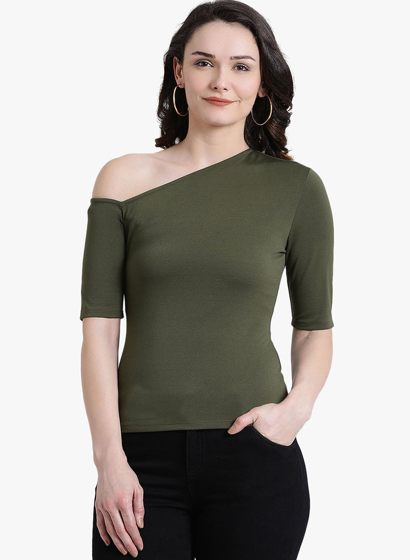 Assymetric Top With Elbo Sleeves