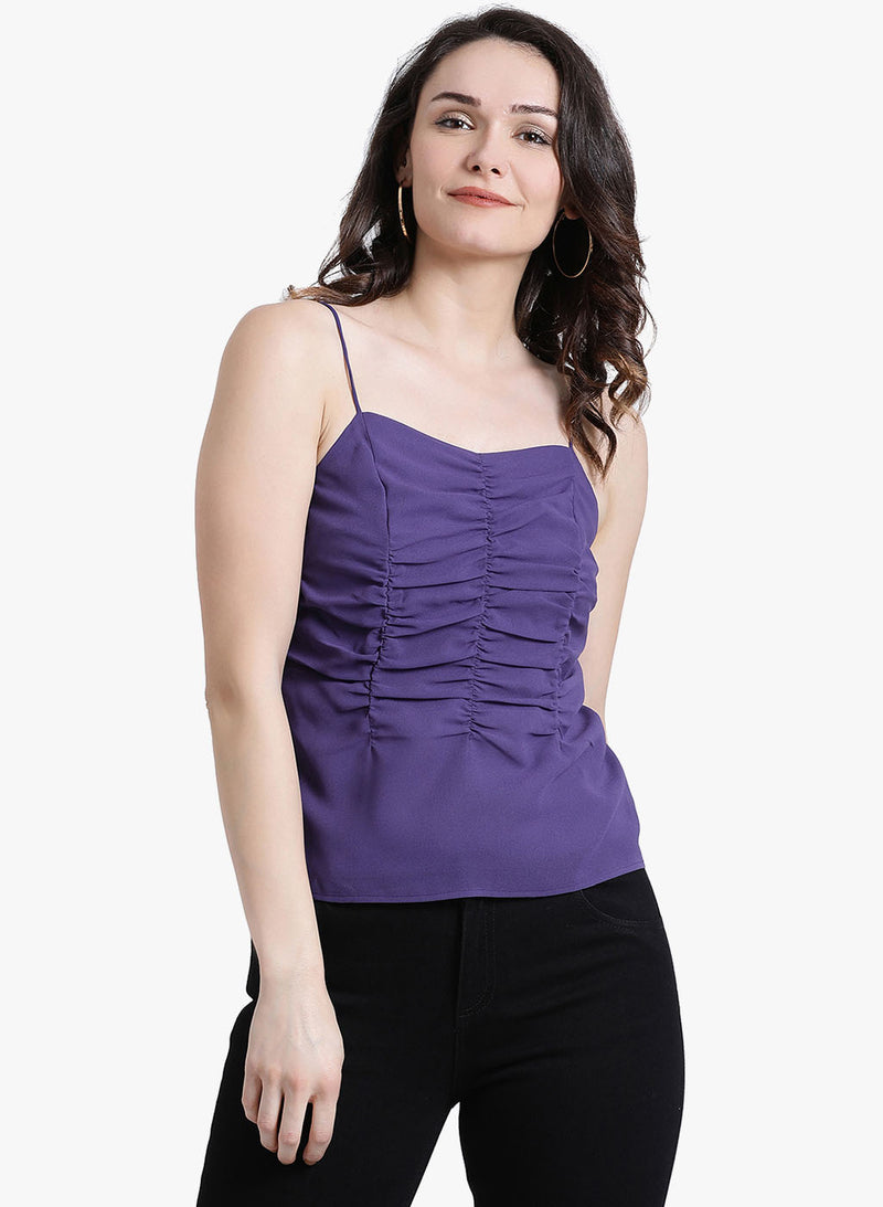 Noodle Strap Top With Ruching