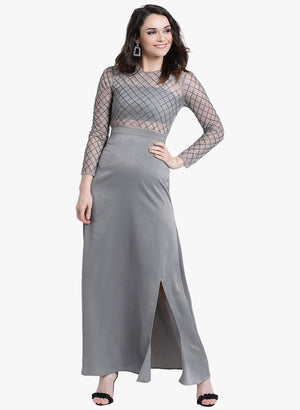 Embellished Full Sleeves Maxi Dress (Additional 20% OFF)
