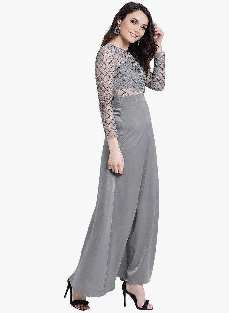 Embellished Full Sleeves Maxi Dress