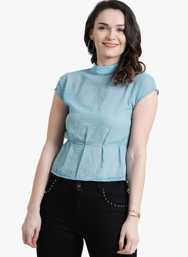 Dobby Top With Neck Band And Darts