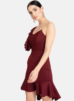 Metal Strap One Shouldered Ruffle Dress