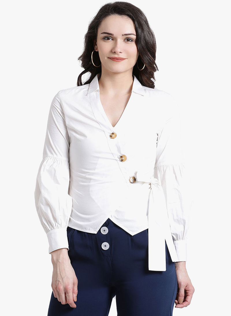 Asymmetric Placket Full Sleeve Shirt