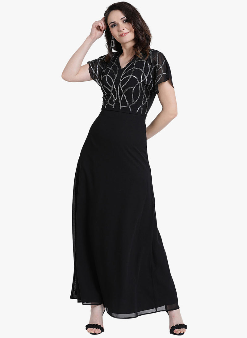V Neck Embellished Maxi Dress