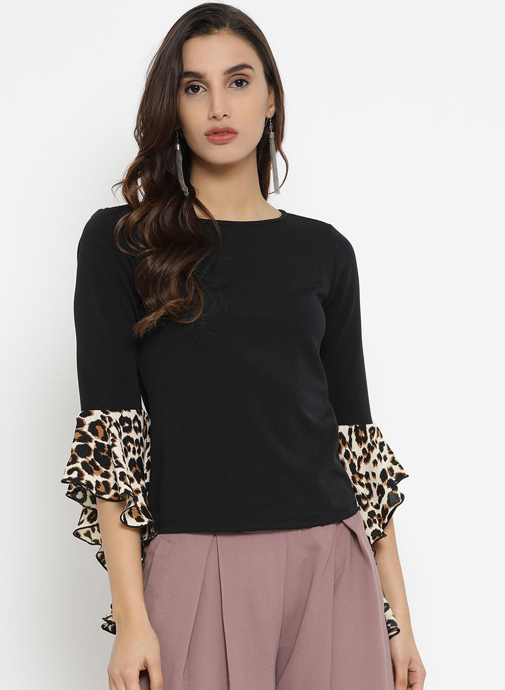 Flared Leopard Print Top