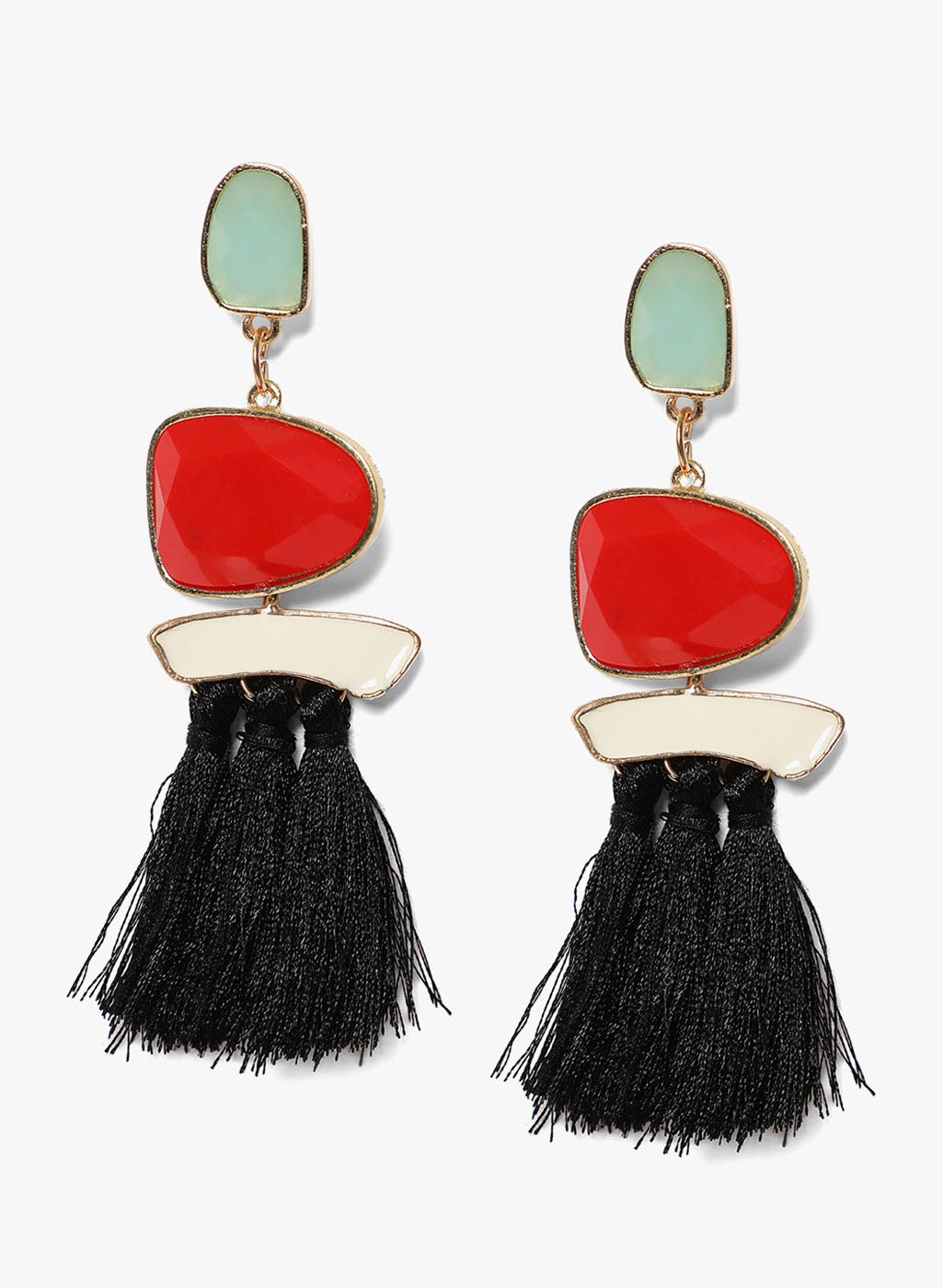 Red Blue Combo Tasseled Earrings