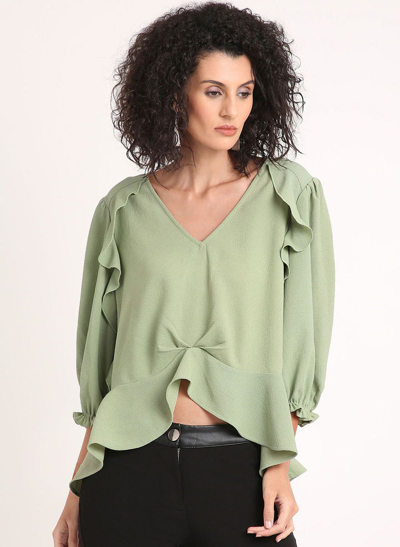 3/4Th Sleeve Top With Ruffles On The Front
