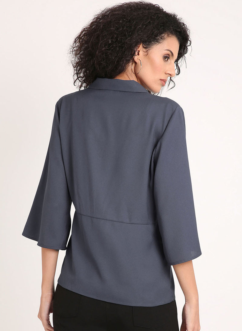 Flared Sleeves Shirt With Buttons