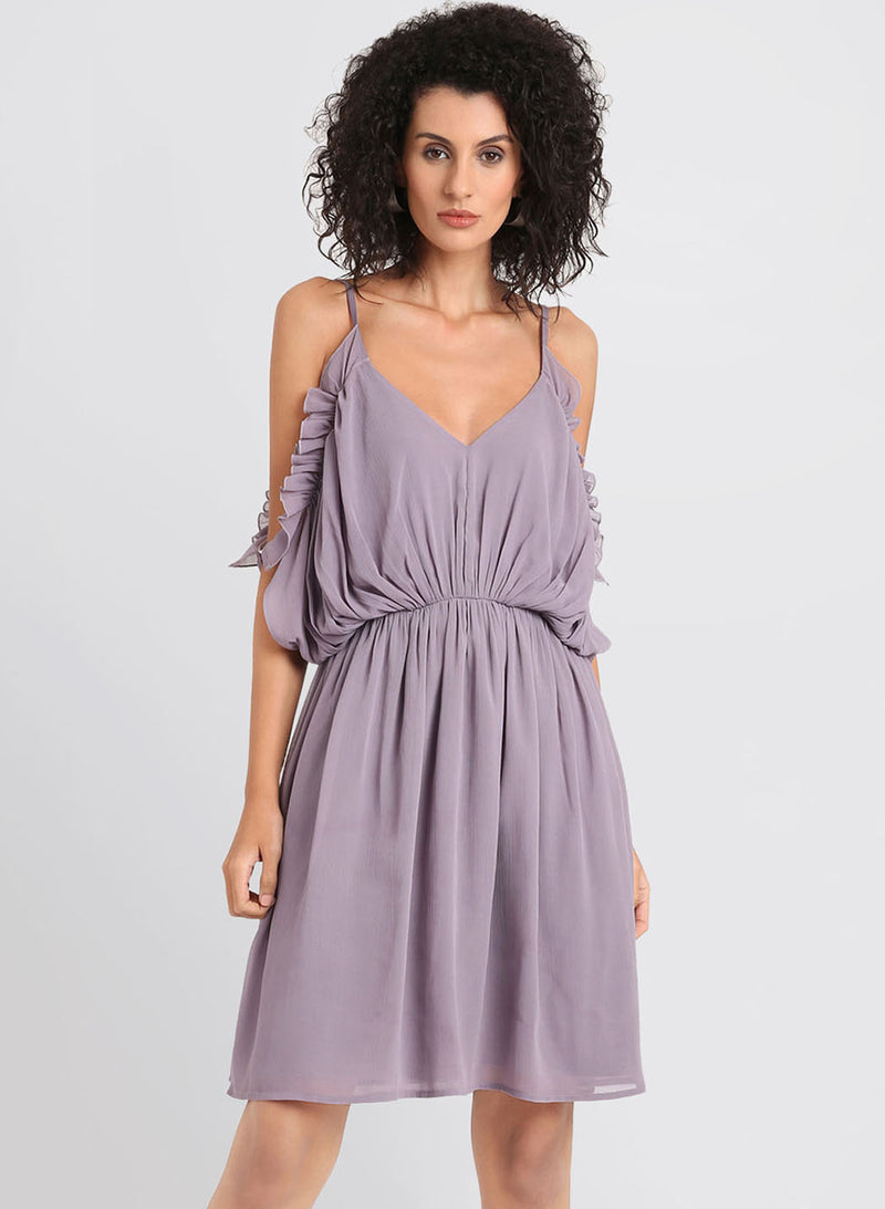 Cold Shoulder Dress With Elasticated Waist