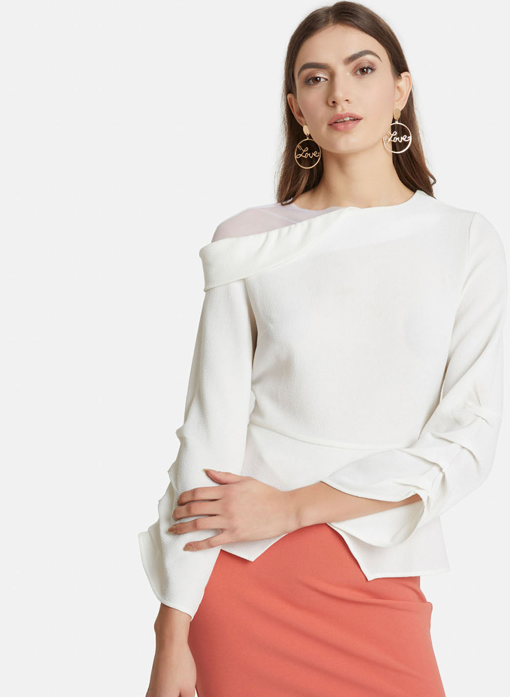 Shoulder Mesh Sleeve Detail Top