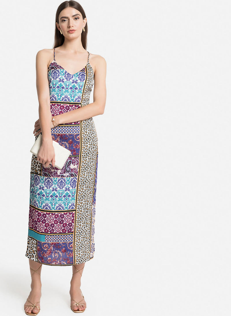 Printed Slip Dress With A Cross Back (Additional 20% OFF)