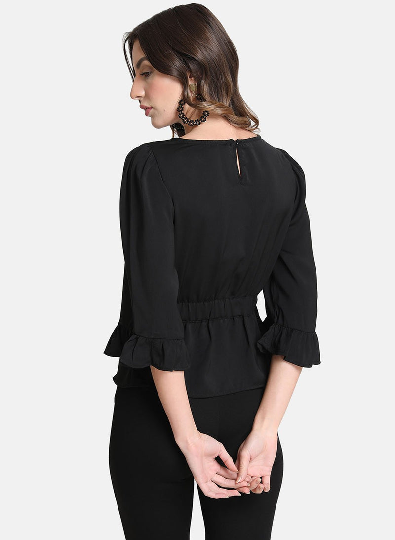 Flute Sleeves Horn Buckle Detail Top (Additional 20% OFF)