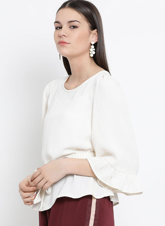 Flute Sleeves Horn Buckle Detail Top