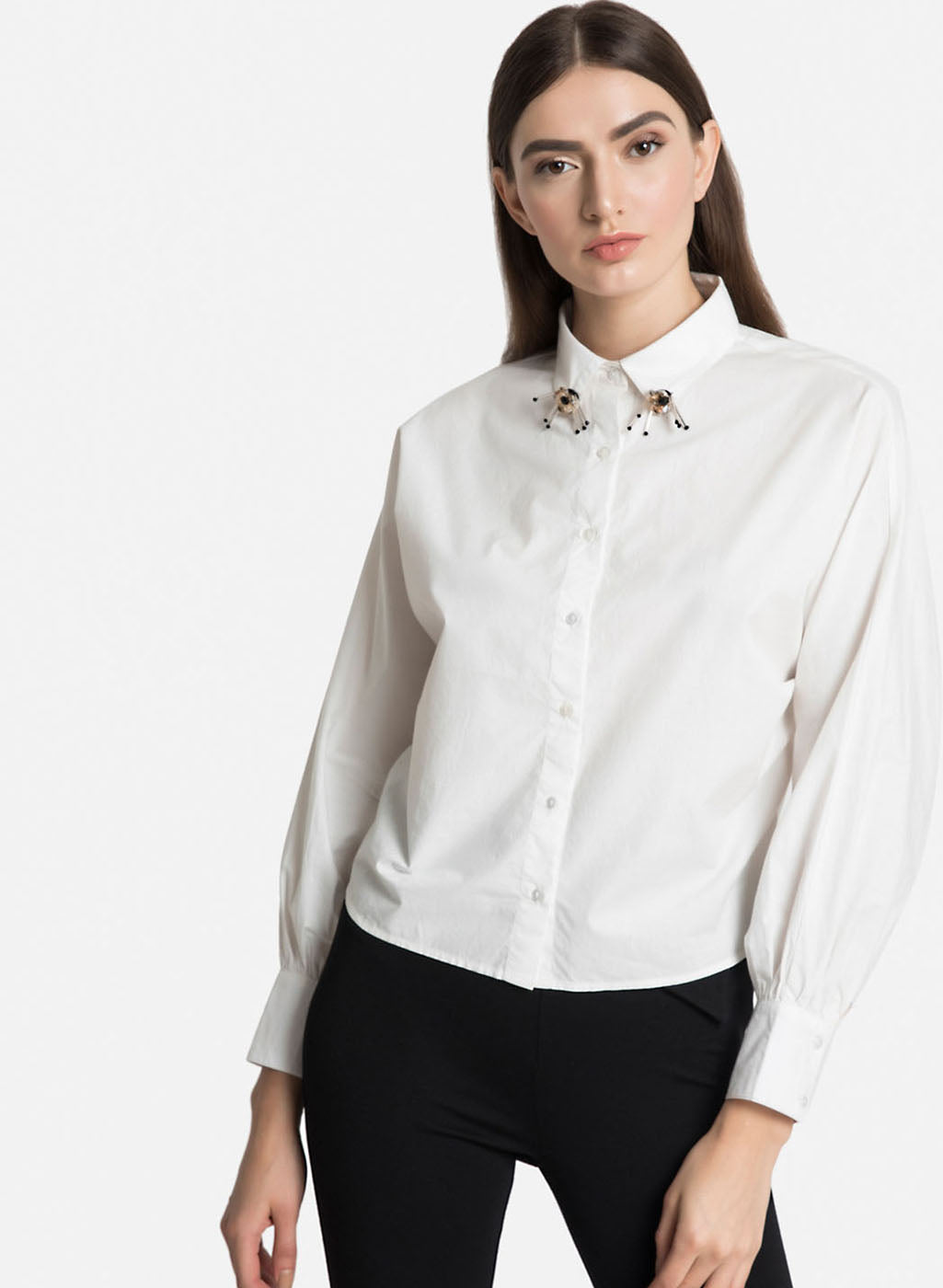 Poplin Shirt With Embellished