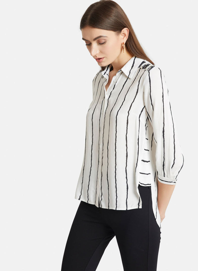 White And Black Strip Embellished Shirt