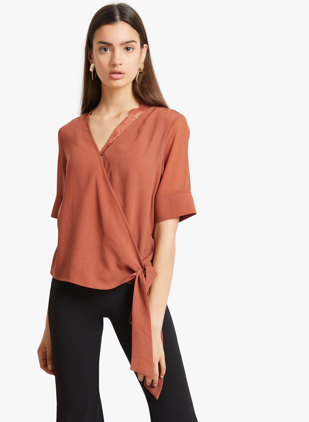 Half Sleeves Top With Eye Lash