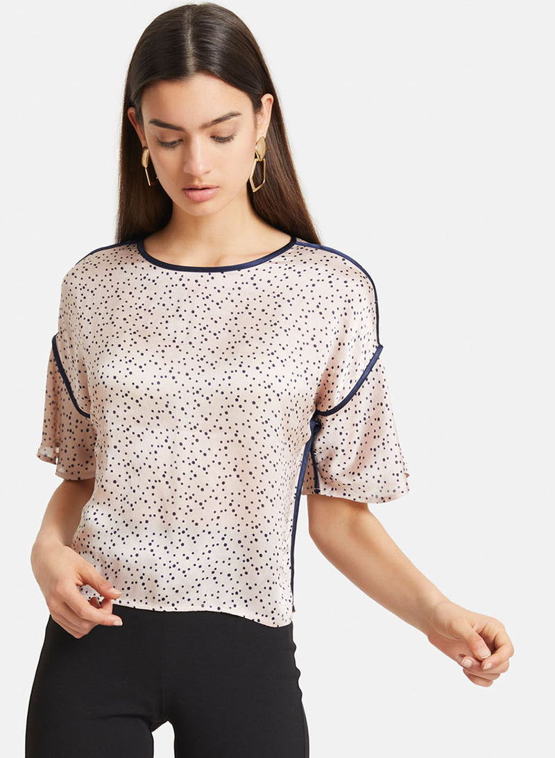 Poka Dot Top With Contrast Piping