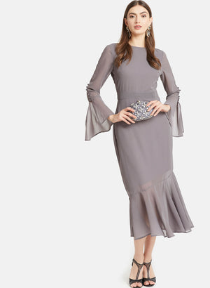 Flared Sleeves Dress With Ruffles