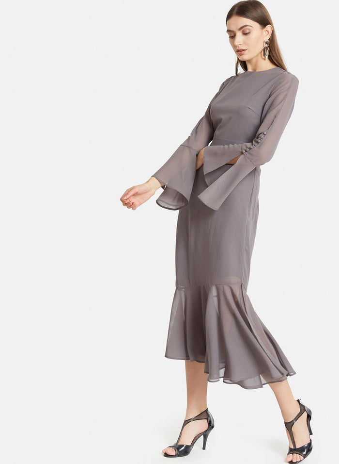 Flared Sleeves Dress With Ruffles (Additional 20% OFF)