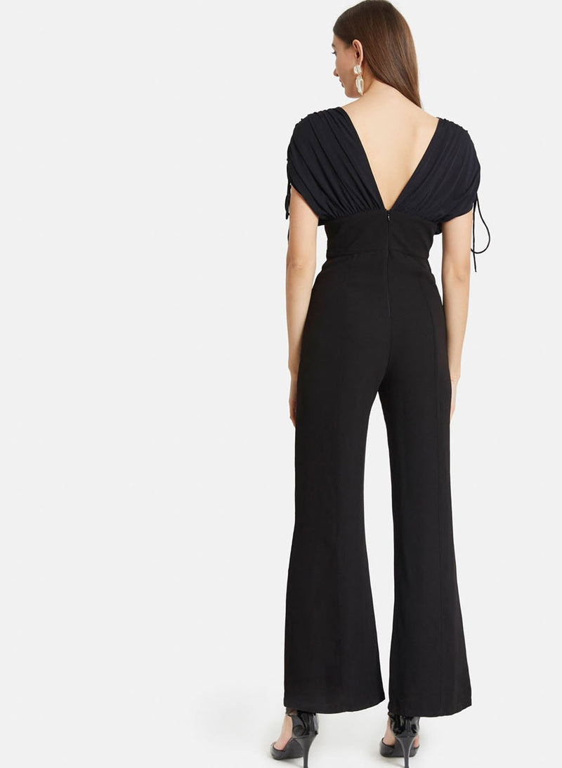 V-Neckv Overlay Gathered Sleeves Jumpsuit(Additional 20% on 2)