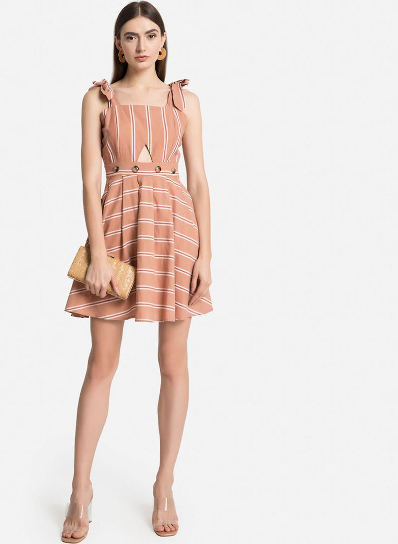 Shoulder Tie Up Mini Skater Dress With Cut-Out Detail