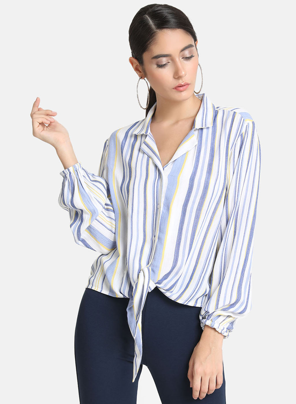Flared Sleeves Striped Neck Tie Up Top