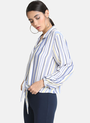 Flared Sleeves Striped Neck Tie Up Top (Additional 23% OFF)
