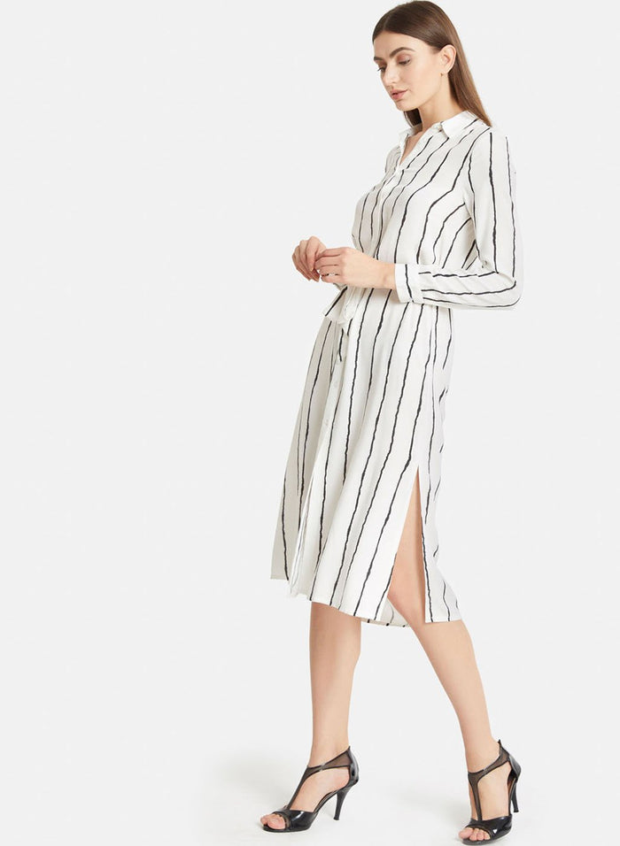 White And Black Strip Shirt Dress (Additional 20% OFF)