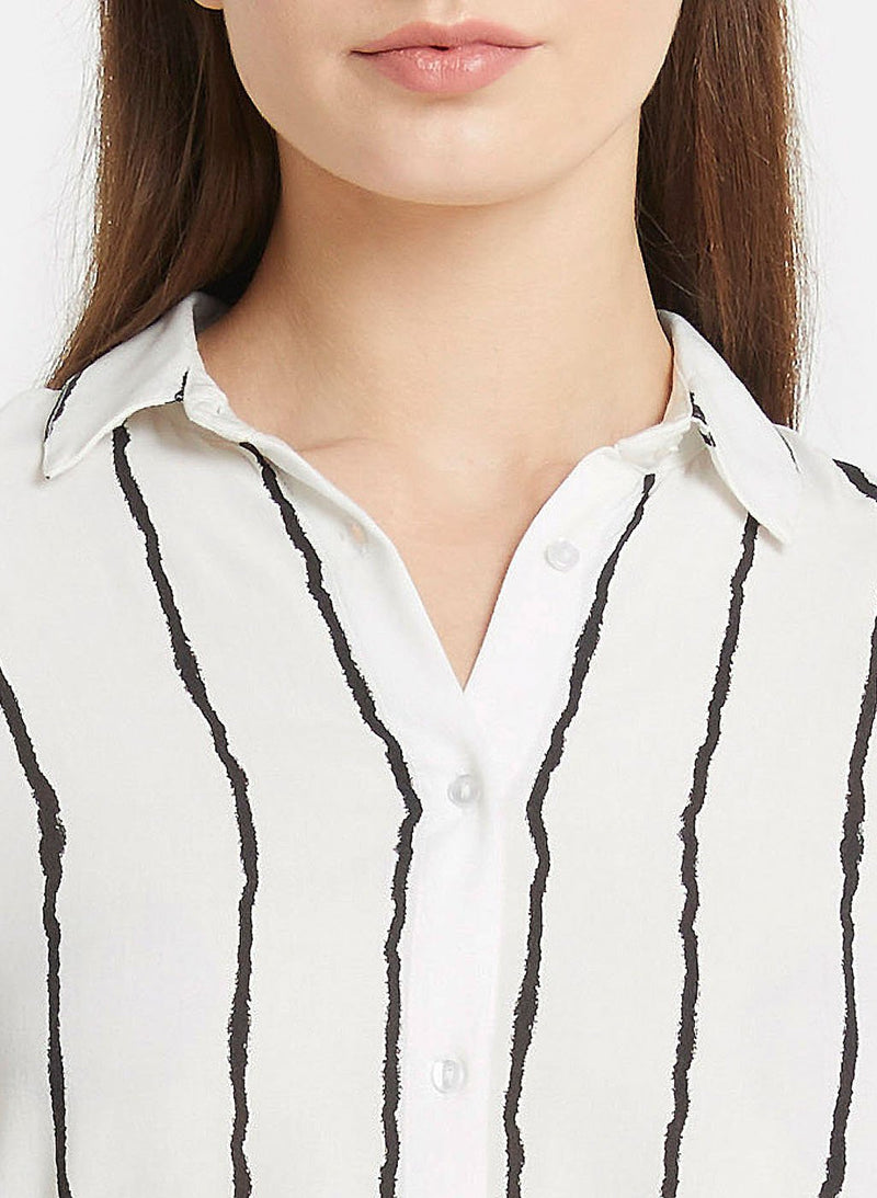 White And Black Strip Shirt Dress