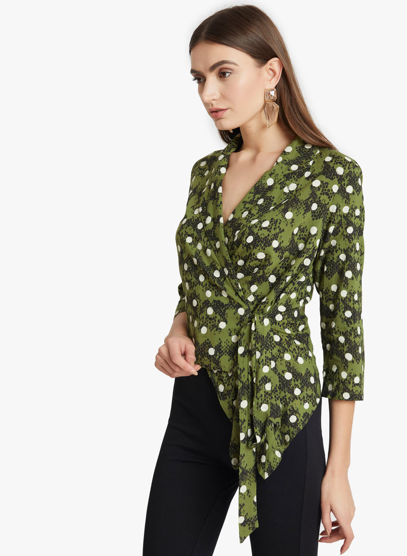 Polka Dot Lapel Neck Wrap Top (Additional 20% OFF)