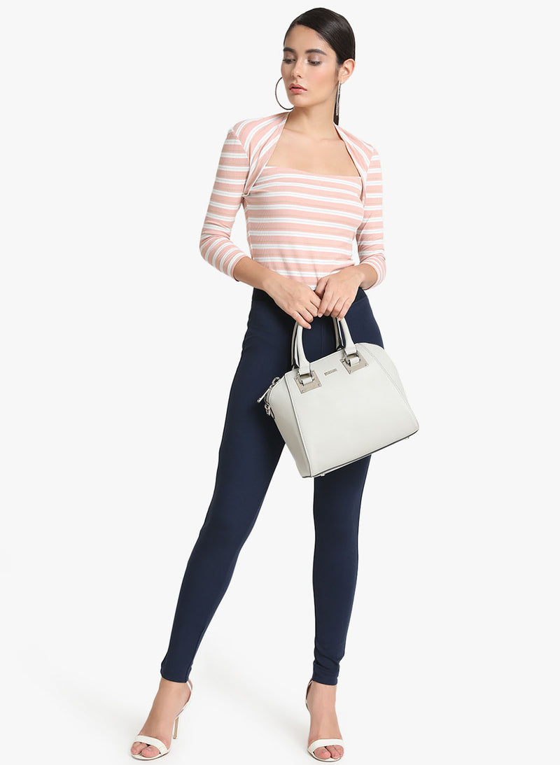 Striped Kitted Lurex Full Sleeves Top (Additional 20% OFF)