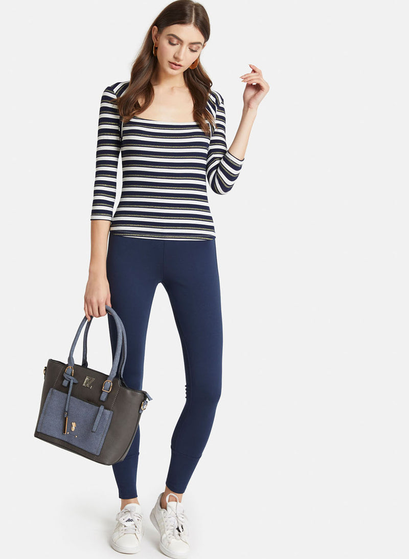 Striped Kitted Lurex Full Sleeves Top