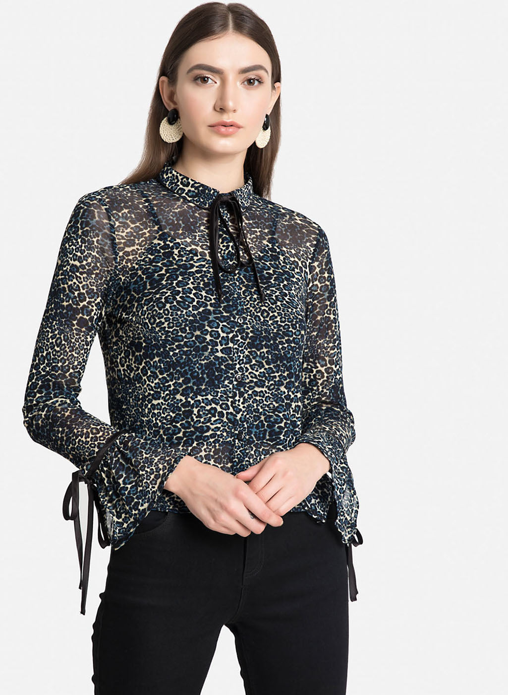 Blue Leo Print Shirt With Flared Sleeves (Additional 20% OFF)