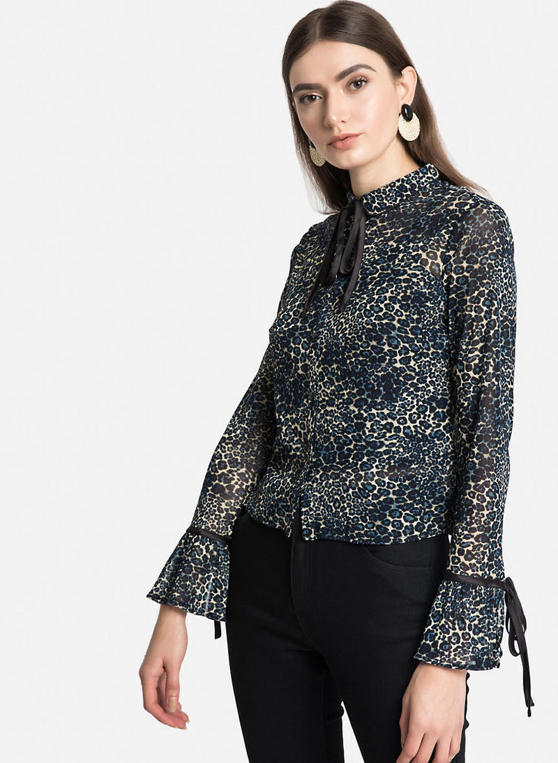 Blue Leo Print Shirt With Flared Sleeves