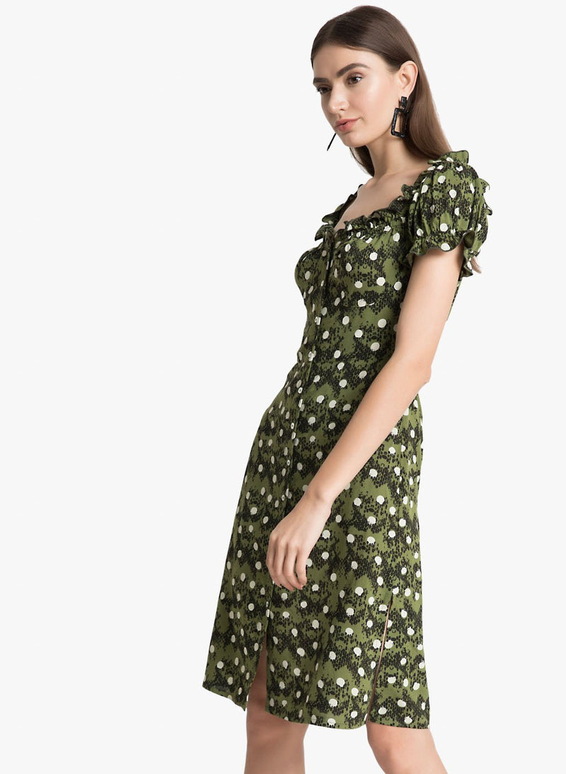 Polka Dot Snake Print Dress