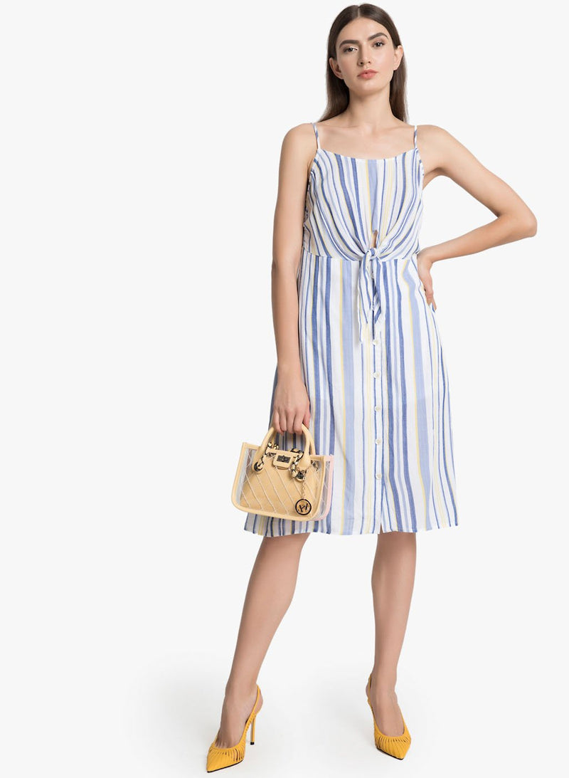 Striped Midi Dress With A Knot Detail