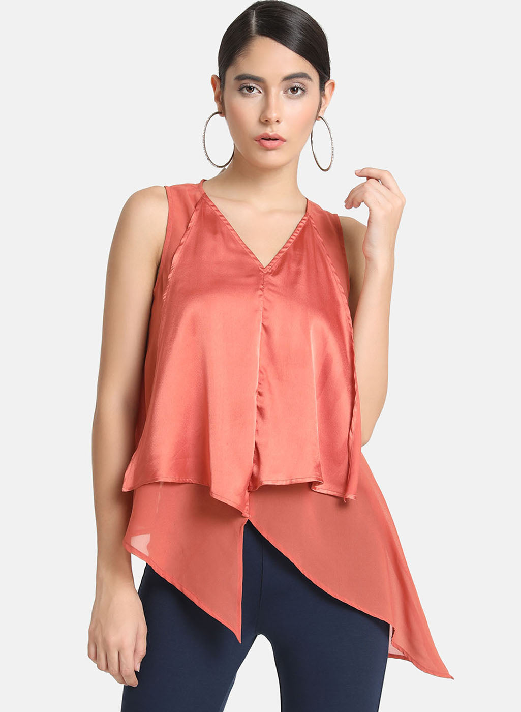 Aysmmetric Sleeveless Top In Ggt & Satin