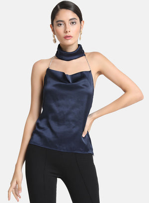 Halter Neck Top With Chain Strapes