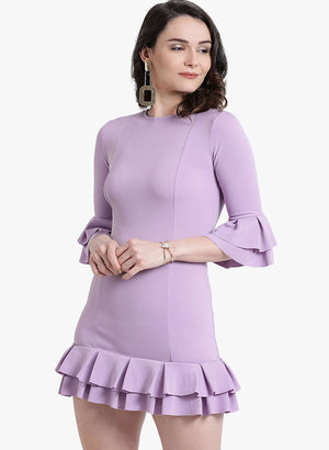 Lilac Stretch Ruffle Dress