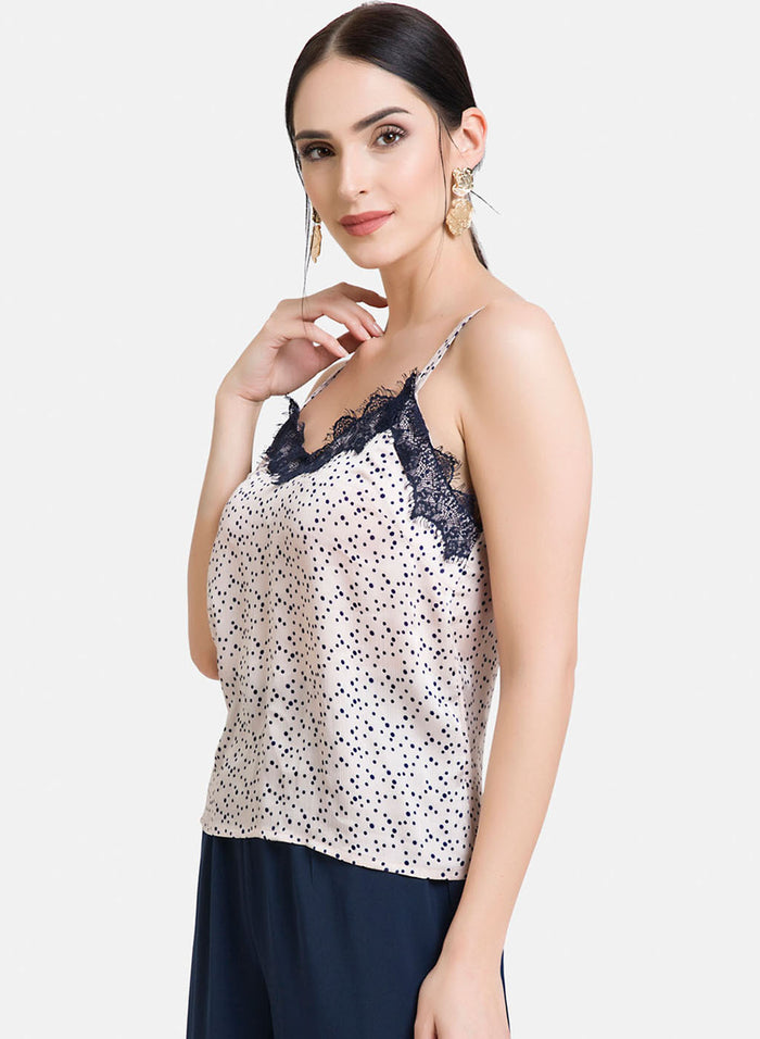 Eyelash Lace Top With Shoulder Straps