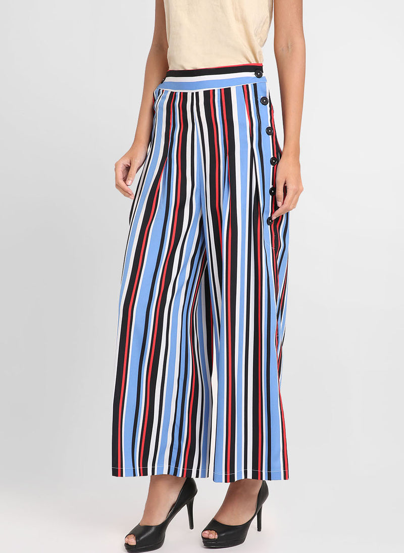 Multicolored Pants With Button Detailing