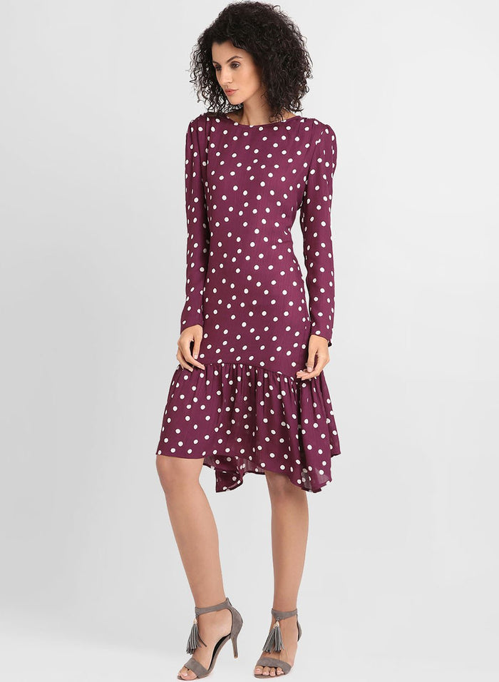 Polka Dots Print Dress With Assymetric Hemline (Additional 20% OFF)