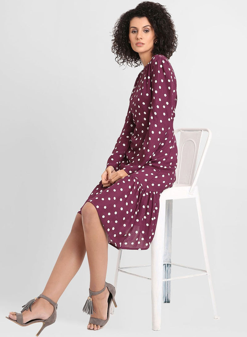 Polka Dots Print Dress With Assymetric Hemline