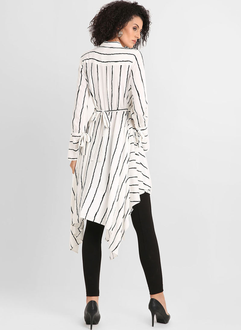 Stripped Dress With Assymetric Hemline(Additional 20% on 2)