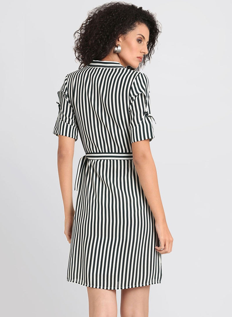 Striped Dress With Button Detailing