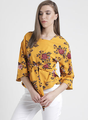 Floral Top With Tie Knot
