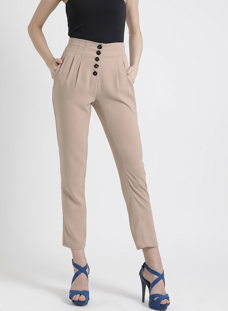 Trouser With Button Detailing In Front