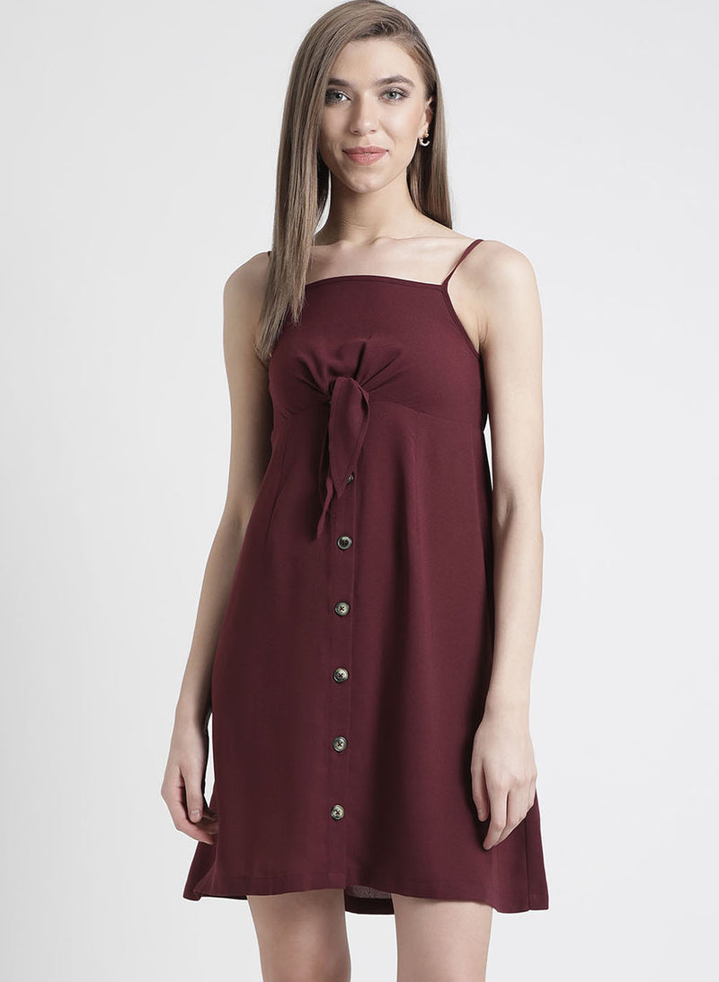 Strap Sleeves Dress With Front Knot Detailing