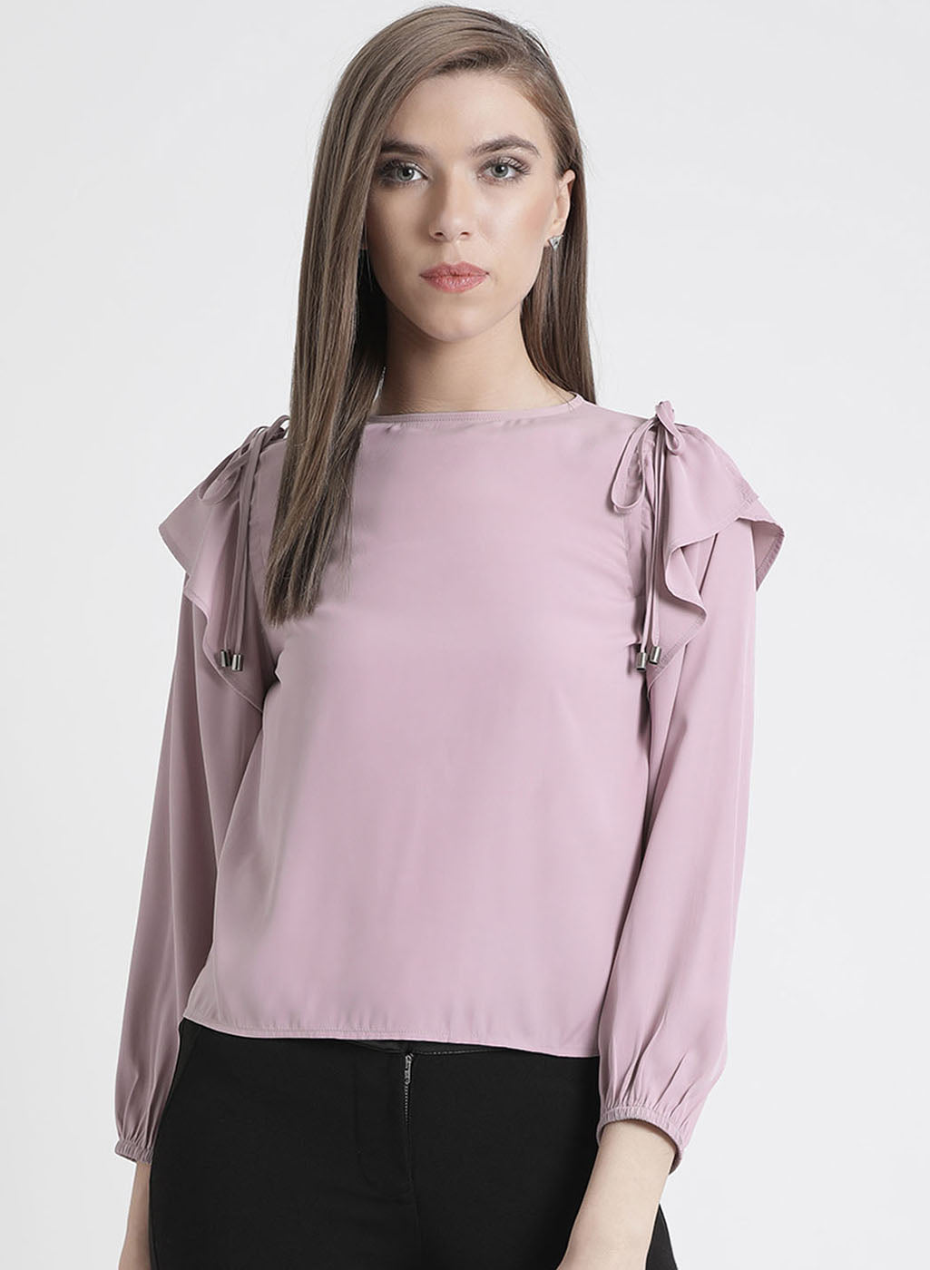 Full Sleeves Top With Tie Up Detailing At Shoulder