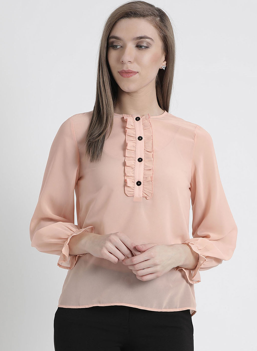 Full Sleeves Top With Ruffle Detailing At Sleeves